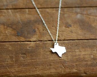 Texas, state jewelry, silver texas necklace, gold texas necklace,