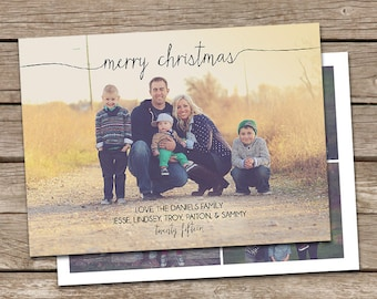 Photo Christmas Card Template: Merry Christmas Script Custom Photo Holiday Card Printable