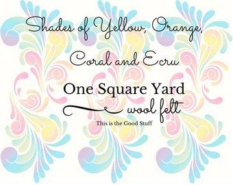 Pure Merino Wool, Yellow Wool Felt, Orange Wool Felt, Coral Wool Felt, Yardage, One Square Yard, NonWoven Wool