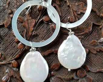 Huge Coin Pearl Earrings on a Mother of Pearl Hoops. Reversable Hoops from Brown Rainbow to White. Dramatic. Boho. Dressy. Casual.