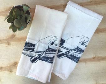 Set of 2 Kitchen Towels - MANATEE Flour Sack Bar Towels - Renewable Natural Cotton Zen Threads