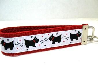 Scottie Dogs Keychain - Dogs Key Fob - Dog Key Chain Wristlet - RED