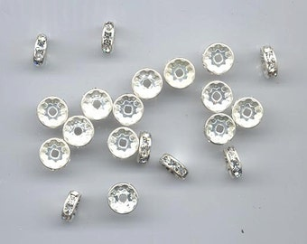 20 vintage Czech rhinestone rondelles - 9 mm crystal/silver plated