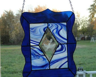 Blue Peace Dove stain glass