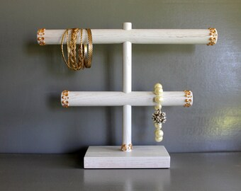 Jewelry Organizer, Bracelet Holder, Antiqued White & Champagne Rhinestones, Headband Hair Tie Storage, Jewellery Stand, Craft Show Display