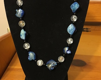 Blue Mother-of-Pearl shell necklace