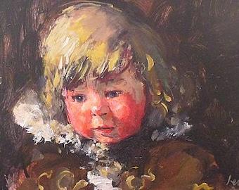 Robert Lenkiewicz Original Oil Painting - Portrait Of A Young Girl