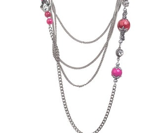 Asymmetrical Pink Beaded Crystal and Silver Multistrand Long Necklace!