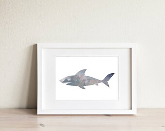 Baby Shark Print Shark Children's Wall Art Shark Illustration Shark Nursery Oceanic Baby Nursery Decor Great White Shark Digital Art
