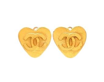 Authentic vintage Chanel earrings gold CC heart #ea2004