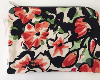 Black Peach Green Bold Print Floral Print Coin Purse | Zipper Purse | Small Bag | Small Cosmetic Bag | Stocking Filler