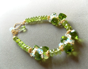Peridot Ethiopian Opal Peridot Quartz Gemstone Cluster Bracelet with  24k Gold Vermeil August October  Birthstone Made to Order