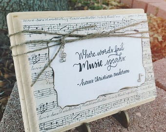 Where Words Fail Music Speaks Wooden Block
