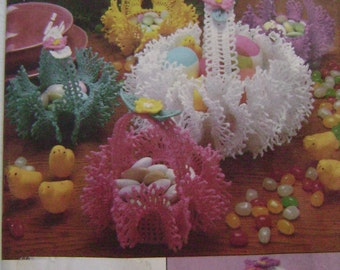VINTAGE Simplicity Pattern 7359 Crochet Eggs, Baskets and Hat