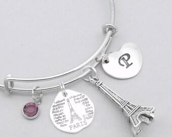 Paris heart initial charm bracelet | paris bangle | personalised eiffel tower bracelet | paris jewelry | eiffel tower jewelry | paris gift