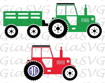 Tractor with trailer svg, farm tractor svg, tractor monogram svg, ready to cut files for Cricut, Silhouette etc, also in png, eps & DXF