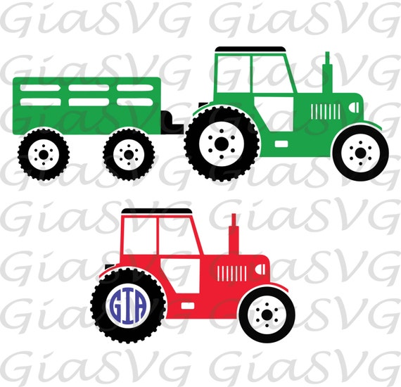 Tractor With Trailer Svg Farm Tractor Svg Tractor Monogram