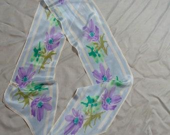 Vintage VERA NEUMANN Silk Diagonal Oblong Scarf ~ Lavender Flowers