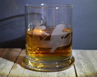 Hand Made Etched Whiskey glass- A Moose And A Bear in a Canoe