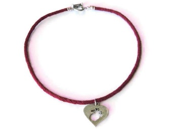 Marine in her heart necklace - kumihimo braid - carved pewter