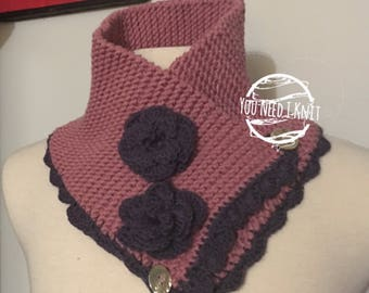 Knitted neckwarmer/ knitted cowl/ knitted merino neck warmer/ merino neckwarmer/ knitted flower neckwarmer/ knitted dressy cowl/ stylish cow