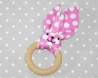pink dots handmade liberty flower teething ring