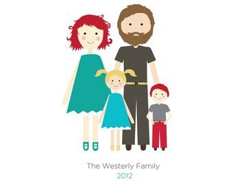 Family Portrait, Custom Portrait Family of Four, Christmas Gift