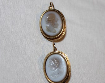 """Dangle earrings gold + intaglios """"SLEEPERS"""" - late 18th early 19th"""