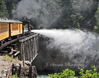 Crossing the Animas.  Narrow gauge in the Rockies.  Professional print in multiple sizes. Beautiful colors, great gift for railroad lover.