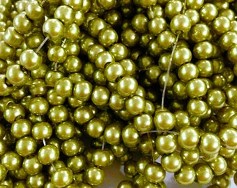 X 50 pearls 6 MM lime green