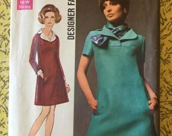 Simplicity 8446 COMPLETE vintage Designer Pattern size 14 bust 36 dress