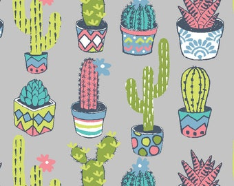 Fabric Cactus Aloe green and blue on bottom, 1/2 meter