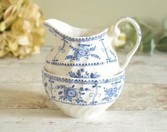 Ceramic sugar bowl and creamer set, pretty retro vintage, traditional blue and white design.