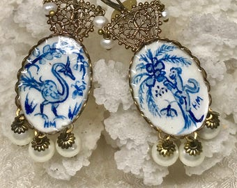 Lilygrace Chinoiserie Monkey and Dragon Bird Blue and White Handpainted Earrings with Freshwater Pearls and Shell Pearls