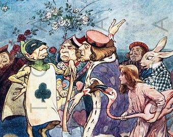 Alice & The Cheshire Cat Vintage Illustration. Digital Alice in Wonderland Print. Vintage Digital Wonderland Download.
