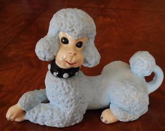 "60's / 70's Vintage Poodle Statue -  Large Size Dog Decor - Retro Puppy Dog Ceramic Figurine - Powder Blue - Mid Century Style ""Sculpture"""