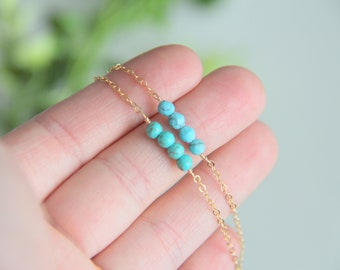 Turquoise bead Choker, Turquoise Necklace, Gold Choker Necklace, 14kt Gold Filled Choker Necklace, Gold Necklace, Bridesmaid Gift