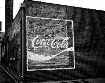 Old Coke Ad, Industrial Photo Wall Art Decor, Athens Georgia, Kitchen Wall Art
