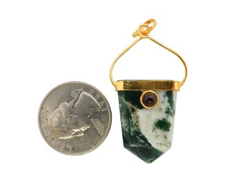 Moss agate band etsy moss agate shield pendant with garnet accent electroplated 24k gold band and bail one aloadofball Image collections