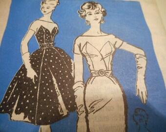 SALE Vintage 1950's Mail Order M221 Prominent Designer Estevez Evening Dress Sewing Pattern Size 14 Bust 34