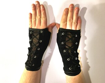 Goth Fingerless Gloves, Lace-Up Arm Warmers, Gothic Black Gloves, Corset Arm Warmers, Punk Gloves, Black Sheer Gloves, Steampunk, Thumbholes