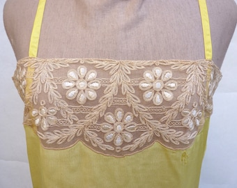 nice shirt or old Nightie, beautiful embroidered bib, yellow chick and flesh