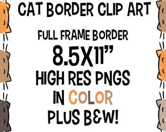 Cat Border Clip Art, Cat Clipart, Cat Clip Art, Cat Background, Cartoon Cat Clip Art, Clip Art Frame, Kitty Clipart, School Cat, Class Cat