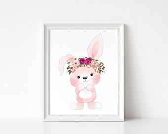 Gorgeous woodland nursery wall print, bunny, floral crown, nursery decor, digital download, instant printable