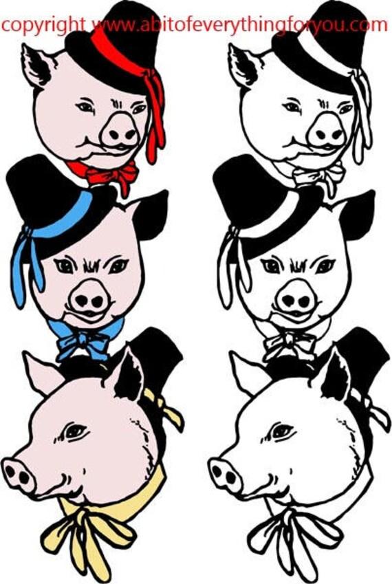 3 little pigs printable cartoon animal art clipart png download digital vintage image graphics fairytale artwork