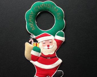 Vintage Santa Claus Door Hanger, Christmas Decoration, Door Knob Hanger
