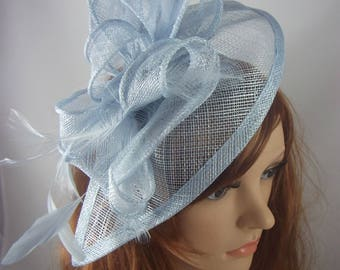 Pale Baby Blue Teardrop Sinamay Fascinator with Feathers - Wedding Races Special Occasion Hat