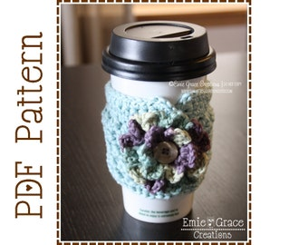 Cup Sleeve Crochet Pattern, Coffee Cozy, ADDISON - pdf 705