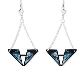 Geometrical earrings - Triangular earrings - Long earrings - Silver - Graphic - Lines - Graphic earrings - Geometric - Kathleen Bellonde