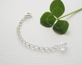 Sterling Silver Extender chain with Clear Crystal Quartz